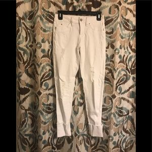 YMI Jeans - WBB White Cuffed/Cropped Distressed Pants